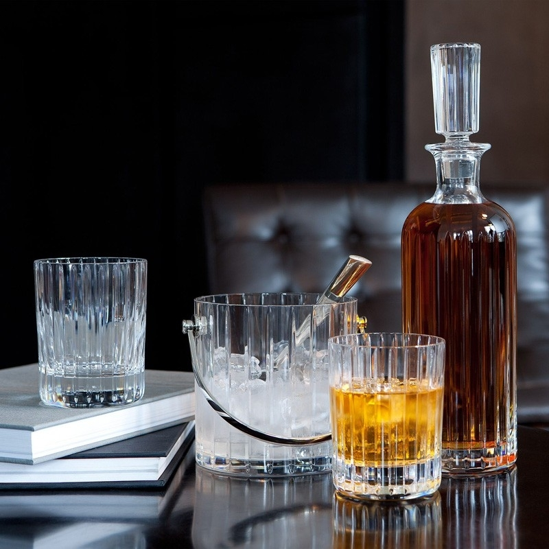 Crystal round whiskey decanter, glasses and ice bucket HARMONIE.
